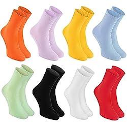 8 pares de Calcetines Sin Elastico para DIABÉTICOS, para SALUD y Varices, de Algodón, Colores Brillantes, tallas 42-43 fabricados en Europa, Cómodos y Delicados para tus pies, Certificado OEKO-TEX