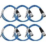 """Seismic Audio Seismic 6 Pack Blue 1/4"""" TRS - XLR Male 2' Patch Cables Blue - SATRXL-M2Blue6"""