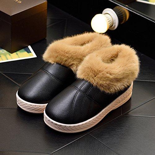 DogHaccd pantofole,Inverno pelle pu di spessore, antiscivolo soggiorno impermeabile home scarpe di cotone uomini e donne paio di pantofole di cotone confezione con scarpe di peluche Colore nero3