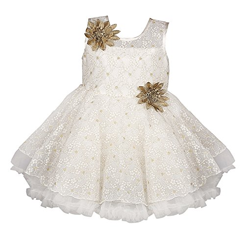 Wish Karo Baby Girls Party Wear Frock Dress (bxa06-3-6 Mths_White_3 - 6 Months)