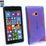 Emartbuy® Value Packfür Microsoft Lumia 535 / Lumia 535 Dual Sim LCD Displayschutz + Ultra Slim Grip Gel Hülle Schutzhülle Case Cover Blau + Kompatible Micro USB KFZ Ladekabel