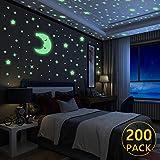 Yosemy 200Pcs Autocollants Lumineux, Lumineuses Stickers Étoiles en 3 Tailles + 1Pcs Gros Lune, Décor de Plafond Fluorescent pour Chambres d'enfants, Chambres de Bébés ou des Fêtes