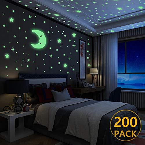 Luminoso Pegatinas de Pared Yosemy Luna y Estrellas, Fluorescente Decoración de Pared para Dormitorio...