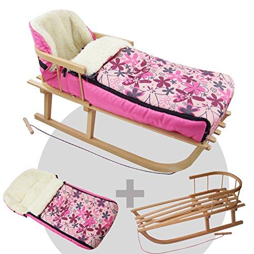 BAMBINIWELT Kombi-Angebot Holz-Schlitten mit Rückenlehne & Zugseil + universaler Winterfußsack (108cm), auch geeignet für Babyschale, Kinderwagen, Buggy, aus Wolle (pink rosa Blumen)
