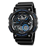 zemge Herren Armbanduhr Analog Digital 50 m Wasserdicht Military Sport Big Face Dual Zifferblatt Business Casual Multifunktions-LCD-Hintergrundbeleuchtung Elektronische Handgelenk Uhren stoßfest Armbanduhr zs1060