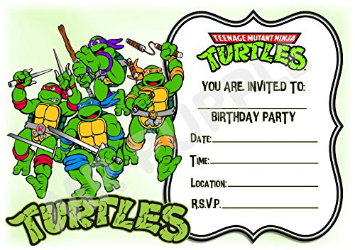 Superhero Teenage Mutant Ninja Turtles Geburtstag Party lädt - Gerahmt Fighting Design - Party Deko/Zubehör (12 Stück EINLADUNGEN) WITH Envelopes