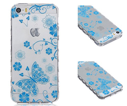 ZeWoo TPU Schutzhülle - BF033 / Don't touch my phone(Bär) - für Apple iPhone 5 5G 5S Silikon Hülle Case Cover BF043 / Blue Butterfly
