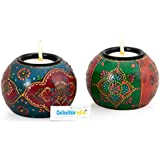 Collectible India Pair Of Tealight Candle Holder With Traditional Rajasthni Art For Christmas Home Décor