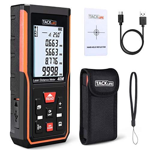 Laser Entfernungsmesser Aufladbare Lithiumbatterie Messbreich 0,05~40m/±2mm mit M/In/Ft 99 Datenspeicherfunktion LCD Hintergrundbeleuchtung,TACKLIFE S5-40