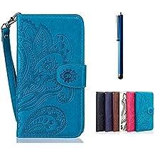 Funda bq Samsung Galaxy S6 Edge Libro de Cuero Impresión - MUTOUREN Carcasa PU Leather Con TPU Silicona Case Interna Suave,Soporte Plegable,Ranuras para Tarjetas y Billetera,pulseras?Cierre Magnético?Universal Stylus - Patrón de color azul pavo real