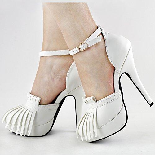 Visualizza storia Sexy bianco/nero Frange nappa Piattaforma Stiletto pompa scarpe, LF30466 Bianco
