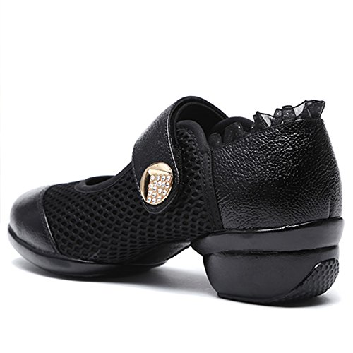 Oasap Women's Fashion Round Toe Velcro Mary Jane Dance Shoes Black