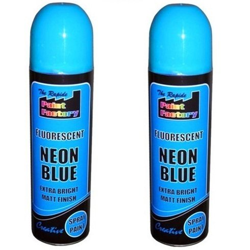 2-x-blue-fluorescent-neon-spray-paint-matt-diy-interior-exterior-bright-colour-aerosol