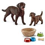 Schleich - Labrador Retriever Familie (13834 + 13835) + 42293 Futter für Hunde & Katzen