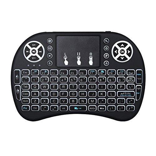 Mini drahtlose Tastatur, Wishpower 2,4Ghz mini wireless Keyboard LED Hintergrundbeleuchtung Ergonomische tastatur mit touchpad für tastatur Smart TV, Raspberry Pi 3, PC fernbedienung (weiß)