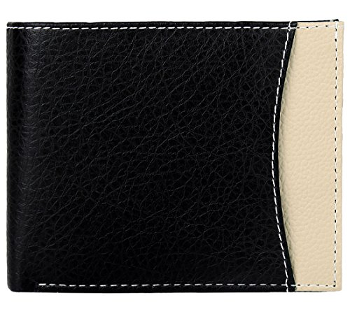 K London Classic Black Grainy Card Coin Pocket Mens Wallet - 1424_BLKBEIGE
