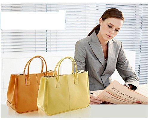 Fieans Mode Damen Soft Leder Henkeltasche Shopper Bag Einkaufstaschen Tote Tasche mit Praktischem Innenleben-Braun Braun