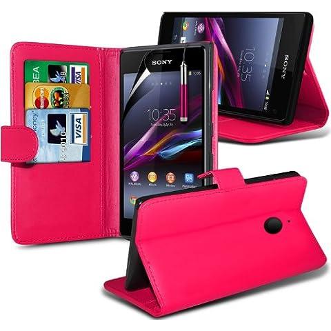 Sony Xperia E1 Custodia portafoglio in pelle stile libro con protezione schermo & penna stilo (E1 Ibrida)