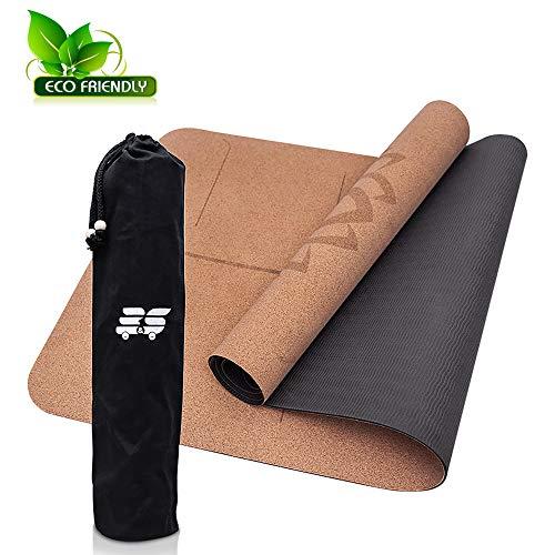 B&S Yogamatte aus Kork - umweltfreundlich & rutschfest - ideale Dämpfung für Deine Gelenke - dünn & leicht - die perfekte Matte für Zuhause oder Unterwegs - mit Tasche