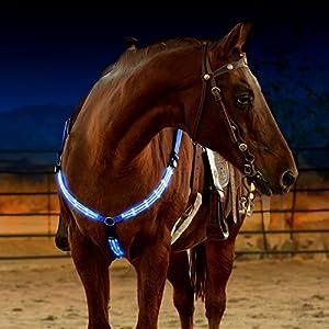 """Illumiseen LED-Pferdegeschirr, über USB wiederaufladbar, Beste Sichtbarkeit beim Reiten, verstellbare, robuste und komfortable """"Hi-Viz""""-Sicherheitsausrüstung für EIN sichtbares Pferd"""