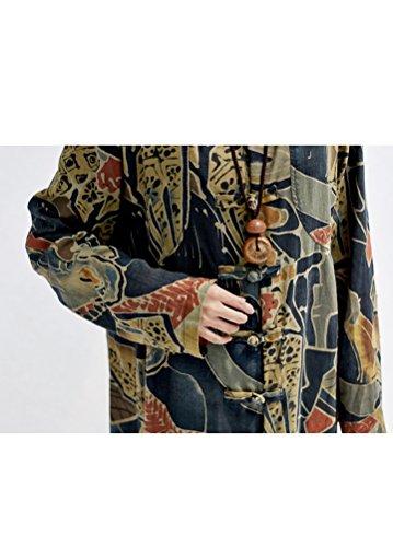 MatchLife Damen Frog-Button Kapuzen Fisch Drucken Lange Mantel Style2