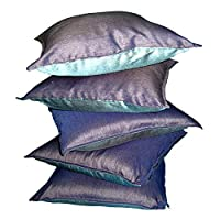 Just Linen Value Pack of 5 Polyester Dupion Reversible 16 * 16 Cushion Covers -lily And Indigo Black