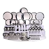 DJ 101 Pcs Diamond Cut Ss Dinner Set, 101 Pieces - Stainless Steel