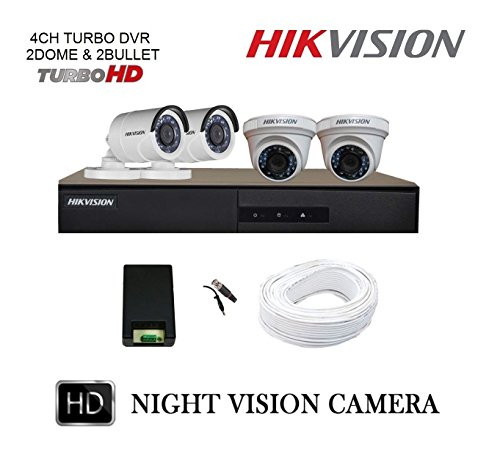 Hikvision Full HD (2MP) 4 CCTV Camera & 4Ch.Full HD DVR Kit (All Accessories)  available at amazon for Rs.11570
