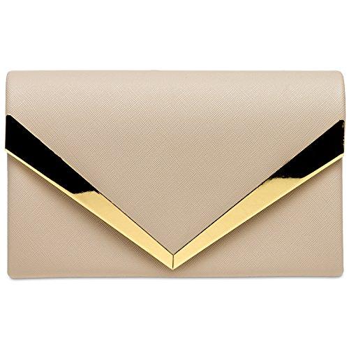 CASPAR TA368 Damen elegante Envelope Clutch Tasche / Abendtasche mit stylischem Metalldekor Nude