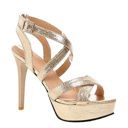 Mee Shoes Damen high heels Plateau Schnalle Sandalen Gold