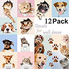 Idea Regalo - 3D Wall Paper simpatico cane e gatto, adesivi per bambini camere Fun Animals Wall Art sticker Decor 12 pezzi