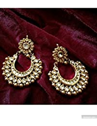 PANASH Golden Brass Chandbali Rajasthani Golden Chandbali Earring For Women's/Girl's