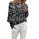 Tianwlio Damen Lässige Langarmshirt Hoodie Pullover Weihnachten Mode Leoparden Muster Langarm aus Schulter Tops Bluse Schwarz XXL