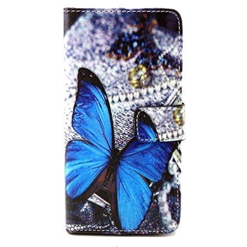 BQ E5 Funda Flip,Book-Style Flip Case Cover Carcasa Cartera Funda de Pile Cuero para Smartphone BQ Aquaris E5 / E5 HD / E5 FHD