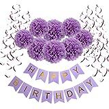 Wartoon HAPPY BIRTHDAY Papel feliz cumpleaños empavesado Banderines con 8 Papel de Seda Pom Poms Bola de la Flor y 15 Guirnaldas verticales para Decoraciones del Partido Fiesta de Cumpleaños, Púrpura