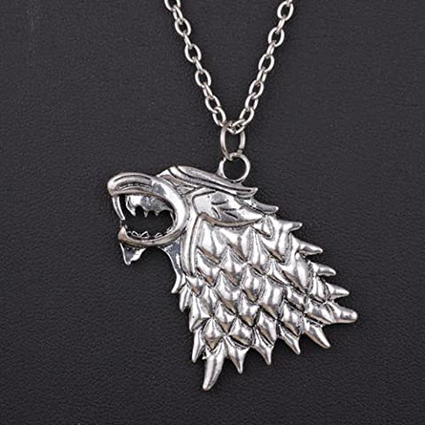 Furry Friends Broche inspirée de Game of thrones , House Stark Dire Wolf Direwolf Necklace Pendant, Length of Necklace 50 cm