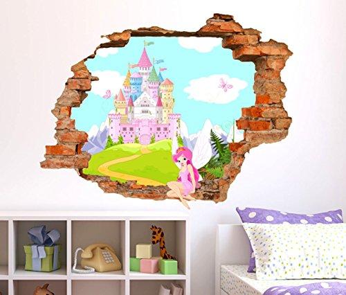 Adesivi Murali bambini StickerDesign Made in Italy Adesivo Murale effetto  Buco nel muro 3D Castello Magico e Fatina seduta sul bordo del muro effetto  ...