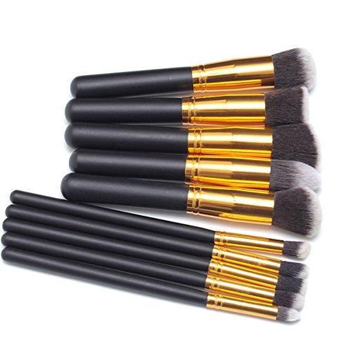 PIXNOR Lot de Pinceaux de Maquillage Cosmétiques en Bois (Noir + Or)