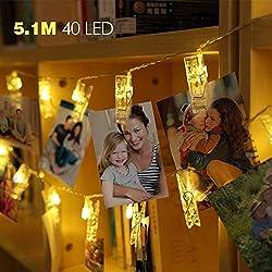 5M LED Fotoclips Lichterkette mit 40 Foto Clips Warmweiß, Batteriebetriebene Stimmungsbeleuchtung Dekoration für Zimmer Deko und Hängende Bilderkarten