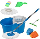 #7: GTC 360° Spin Mop Rotating Steel Pole & Plastic Bucket with 2 Microfiber Heads With Free Dustpan, 4 Sponge, 1 Glass Wiper & 2 Microfiber Gloves