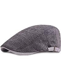 Nikgic Señor Mode LÄSSIG Verano Pato Lengua Boina Sombrero de Protección Solar Cómodo Transpirables Gris Gris Oscuro 56-60CM