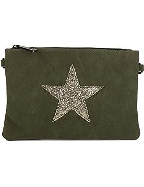 [Gesponsert]styleBREAKER Clutch Abendtasche mit Pailletten Stern in Wildleder Optik, Schulterriemen und Trageschlaufe, Damen...