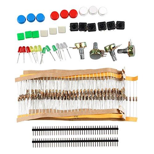DIY - Kit di componenti elettronici, con interruttori, potenziometro, LED, resistori, per Arduino