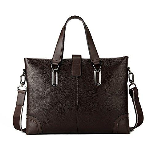 KAXIDY Leder Tasche Aktentasche Aktenkoffer Businesstaschen Aktentaschen (Schwarz) Kaffee