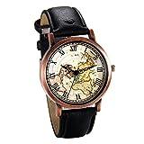 JewelryWe Herren Damen Armbanduhr, Retro Analog Quarz Weltkarte Globus Karte Uhr mit Römischen Ziffern Zifferblatt und Leder Armband, Farbe: Schwarz