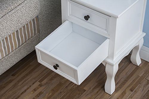 CherryTree Furniture Wood White Bedside Table 2-Drawers Cabinet (White)