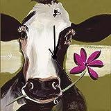 Artland Analoge Wand-Funk-oder Quarz-Uhr Digital-Druck Leinwand auf Holz-Rahmen gespannt mit Motiv Marie Lou Glückliche Kuh I Tiere Haustiere Kuh Malerei Grün A7TZ