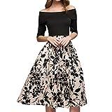 Voicry Frauen drucken A-Linie Elegante Rüschen aus Shoulde knielangen Vintage-Kleid
