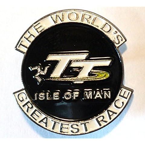 The World 's Greatest Race–Isla De Man TT metal motocicleta esmalte Insignia