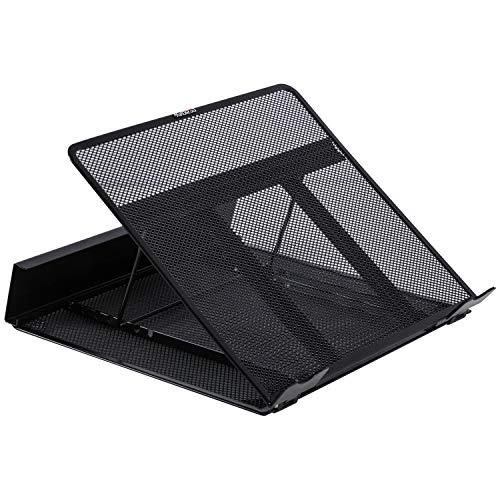 DESIGNA Support réglable pour ordinateur portable ventilé en métal pour ordinateur portable noir